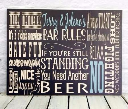 Personalized Bar Rules Wood Sign - Terry and Jolene's