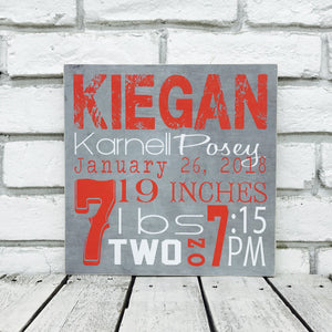 Personalized Baby Stat Sign- Canvas
