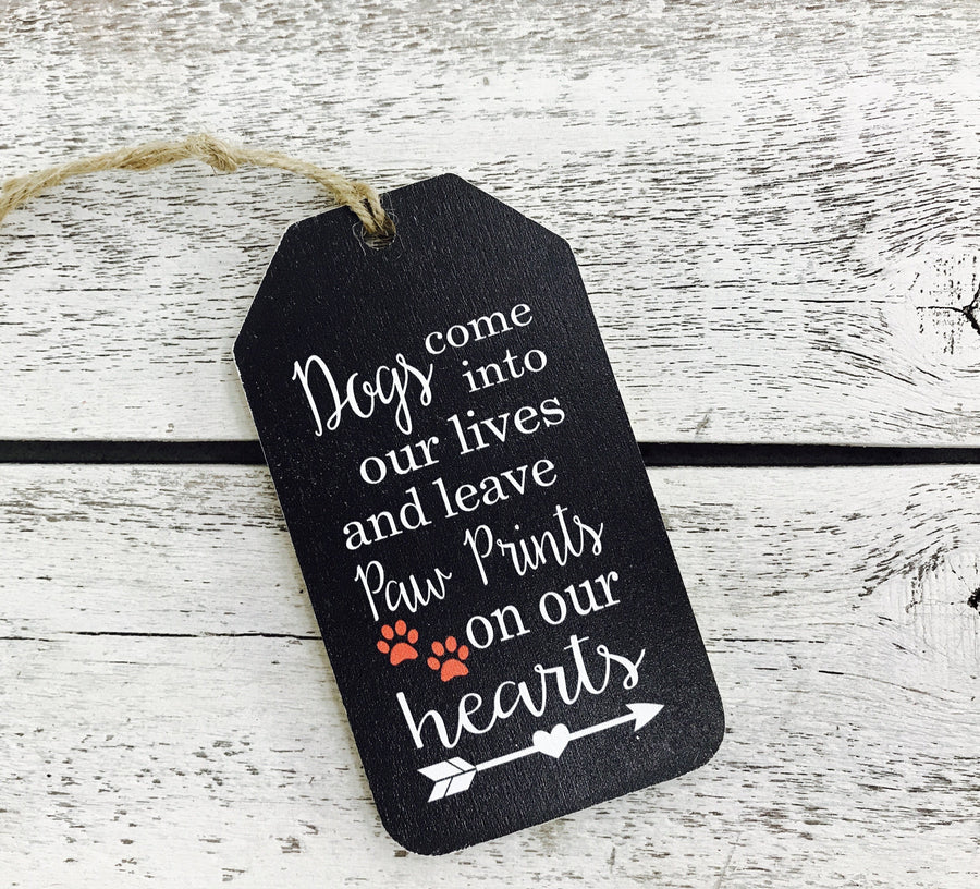 """Paw Prints on Our Hearts"" Gift Tag"