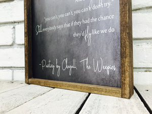 Wedding Song Lyric Chorus Only on Wood