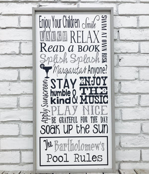 Custom Pool Wood Sign