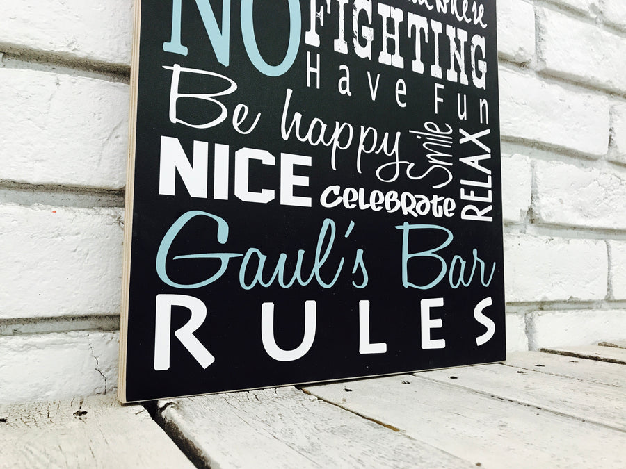 Personalized Bar Rules MDO Sign