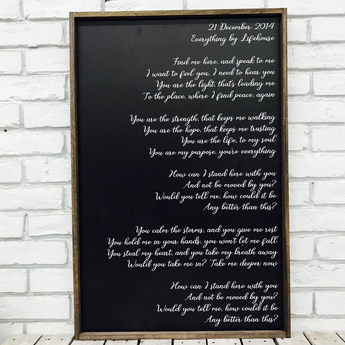 Wedding Song Lyrics on Wood