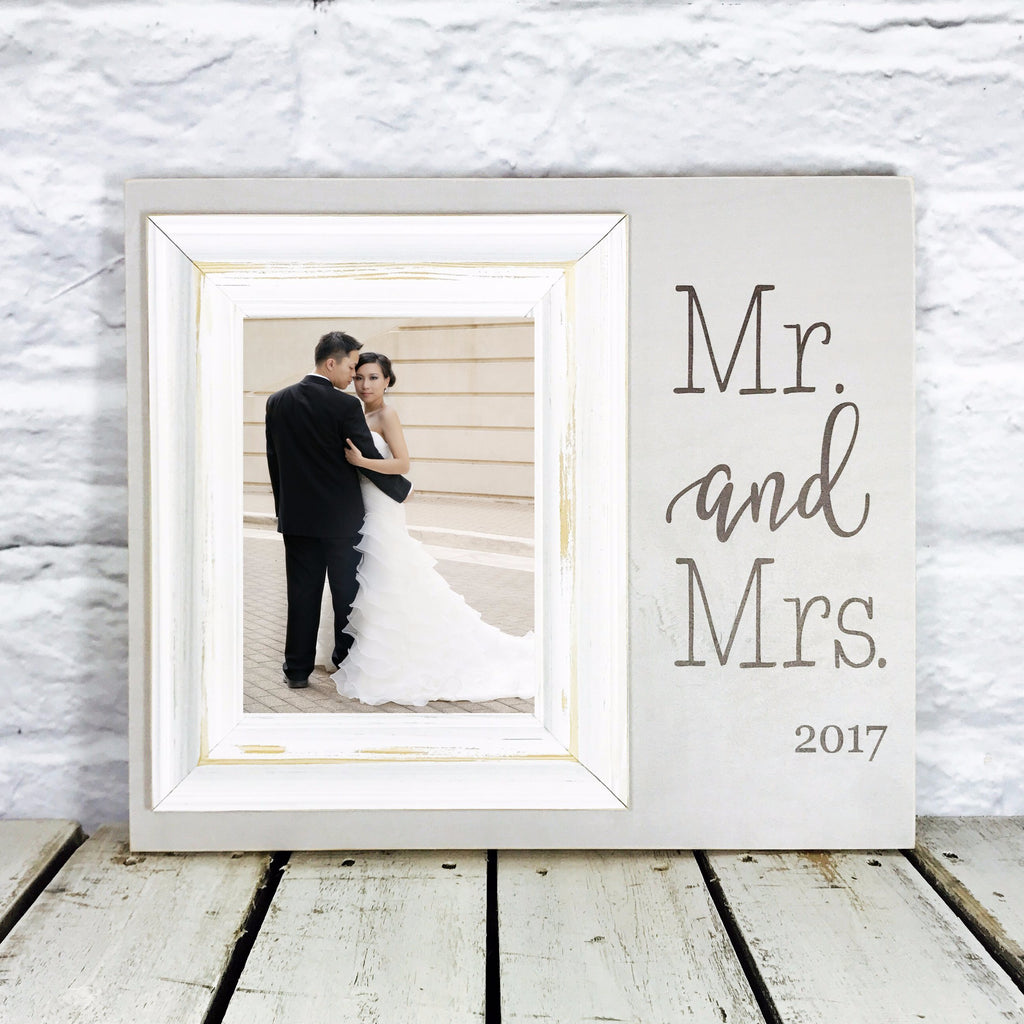 Personalized picture frames madi kay designs personalized mr and mrs wedding gift 12 x 14 picture frame gift grey and white jeuxipadfo Gallery