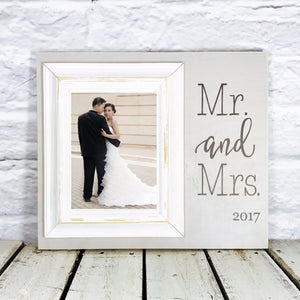 Personalized Mr and Mrs Wedding Gift 12 x 14 Picture Frame Gift- Grey and White