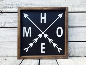 """Home Arrow"" Wooden Farmhouse Home Decor Sign"