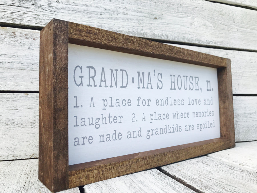 """Grandma's House Definition"" Wooden Farmhouse Home Decor Sign"