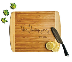 "Personalized Bamboo Cutting Board, Wedding Gift, Engraved Wood Board 14"" x 11""-Kauai"