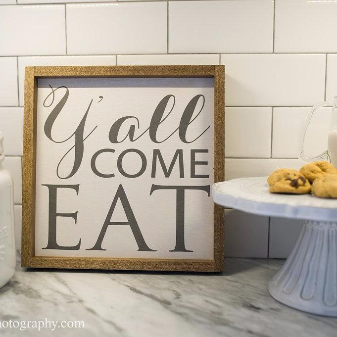 Y'all Come Eat Farmhouse Wooden Decor Sign