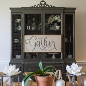 "Wooden Farmhouse Sign ""Gather"""
