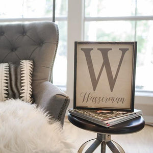 personalized last name distressed wood frame custom sign