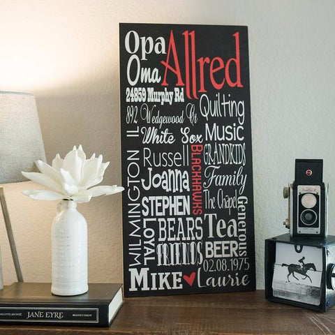 Personalized Family Name Sign Subway Wall Art - Allred Design - Wood