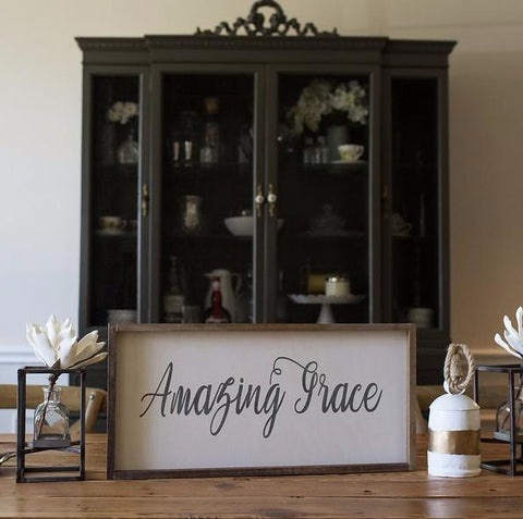 Amazing Grace Farmhouse Framed Sign - Wood
