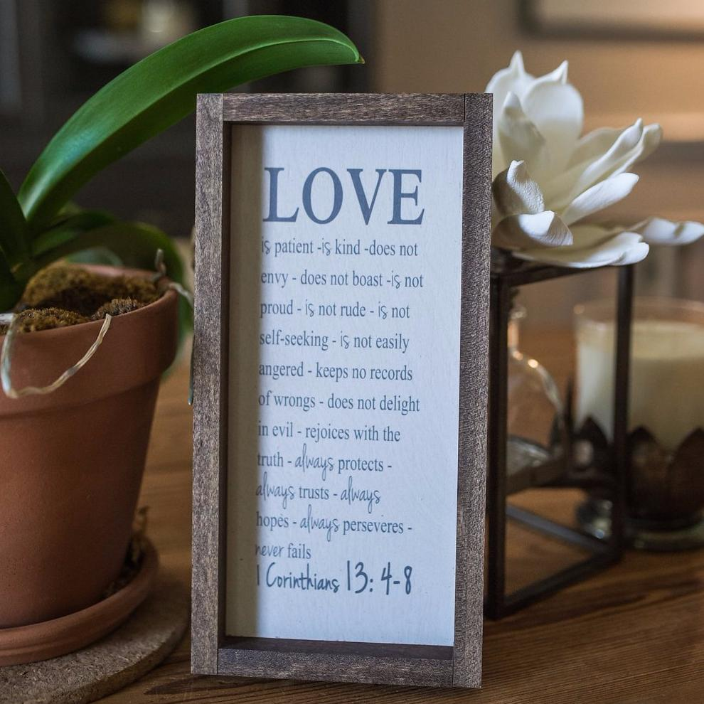 """Love is Patient"" Wooden Farmhouse Home Decor Sign"