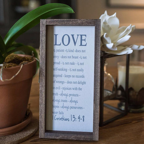 Love is Patient Farmhouse Home Decor Sign - Wood