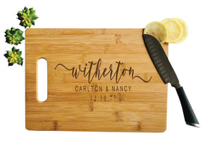 Personalized Bamboo Cutting Board, Engraved Wood Board-Large