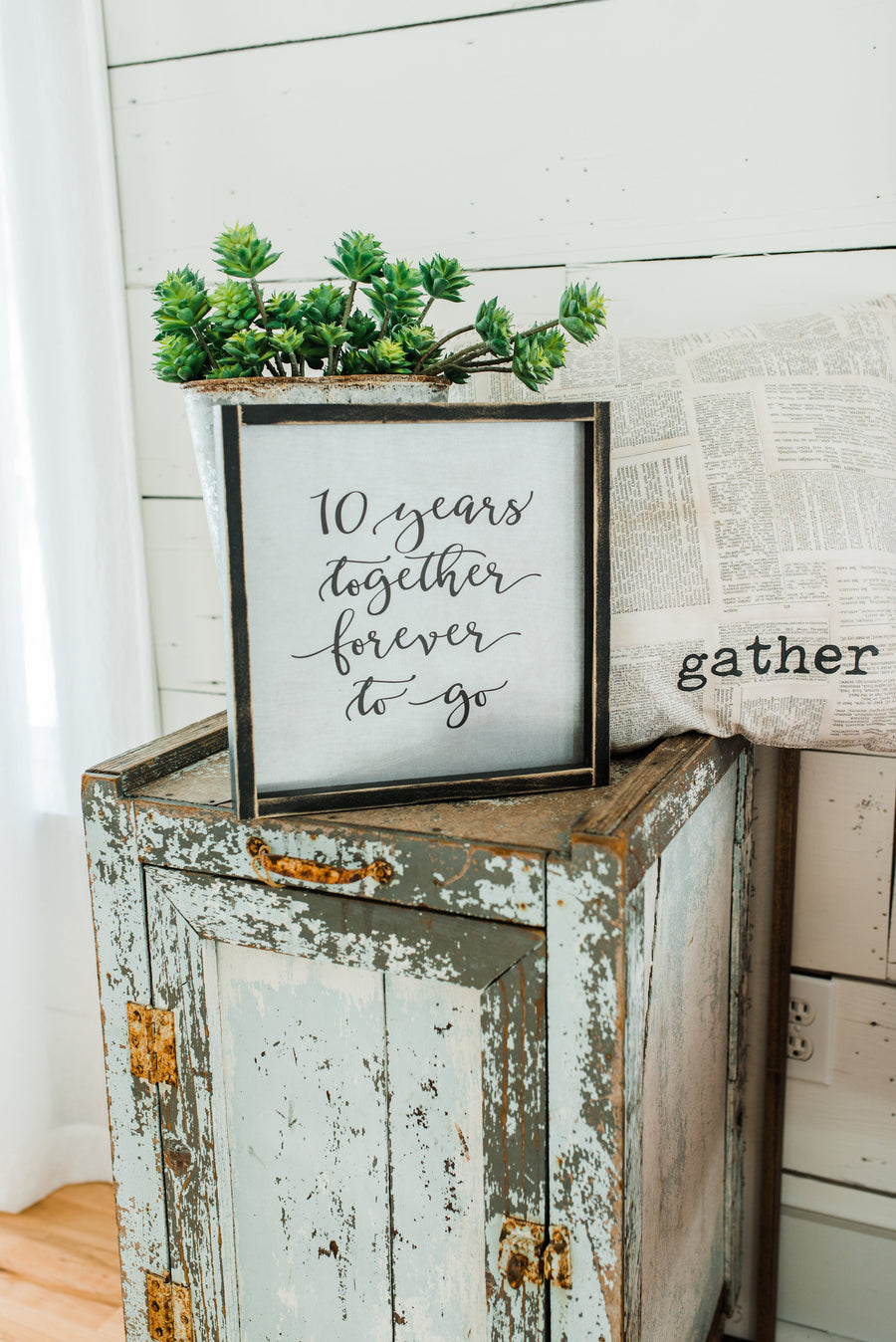 """10 Years Together Forever To Go"" Anniversary Gift - Tin Sign"