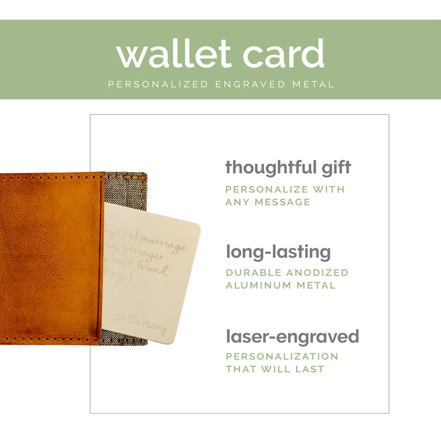 Custom Wallet Insert Card Personalized Quote Gift for Him