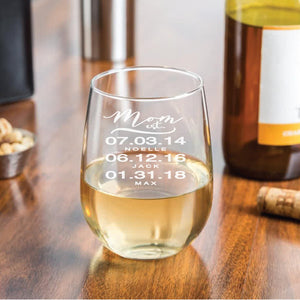 Personalized Stemless 17 oz Wine Glass Gift for Mom