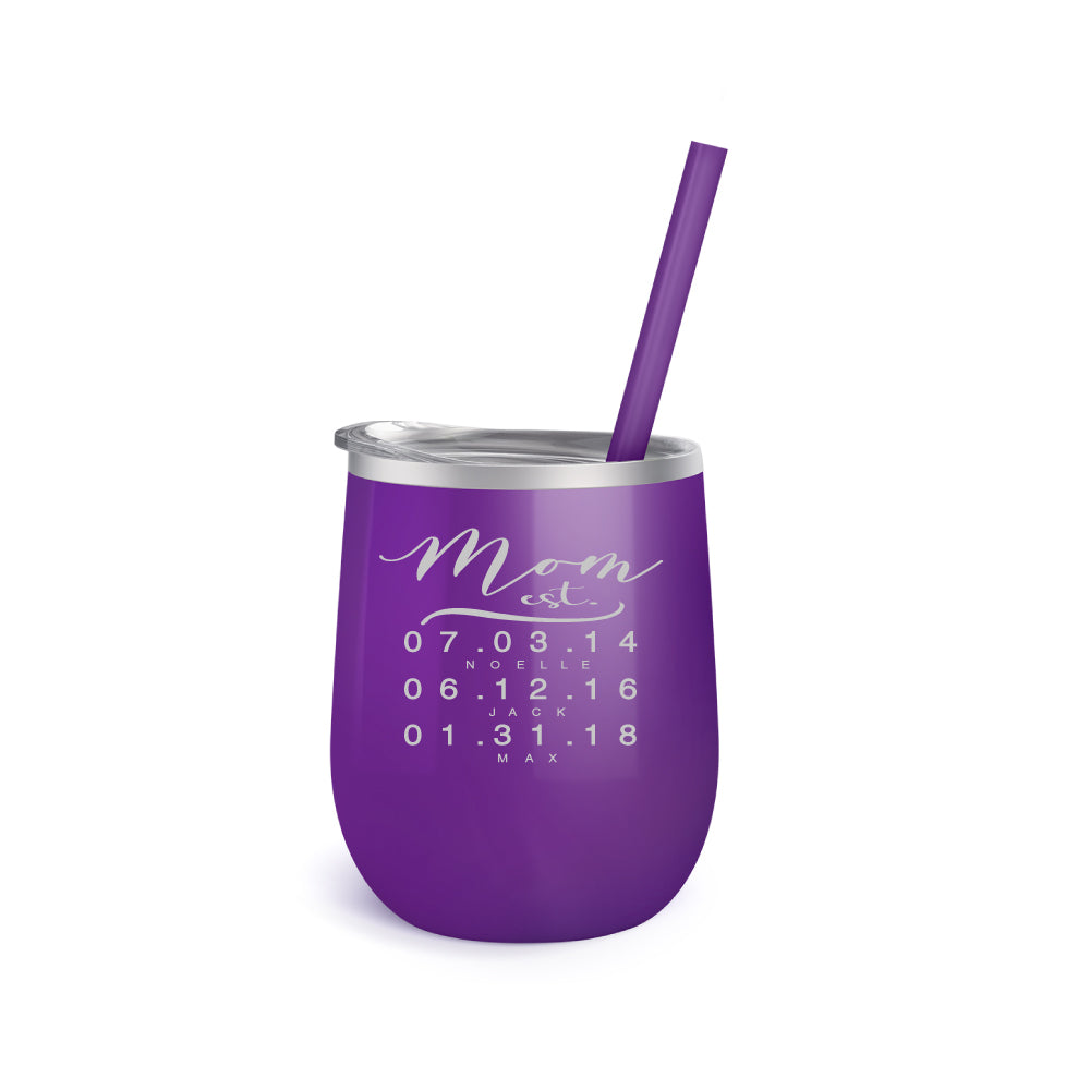Personalized Wine Tumbler for Mom with Established Date