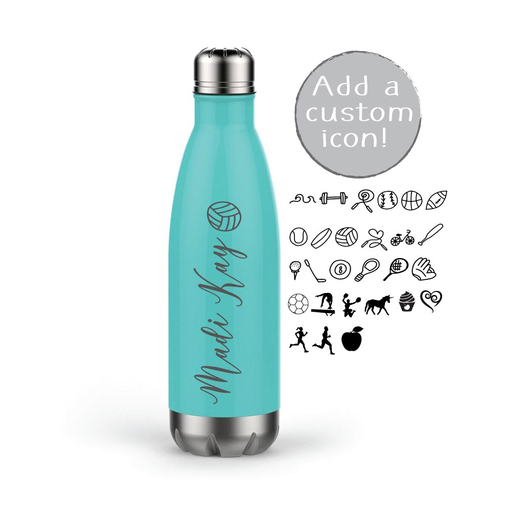 Personalized Engraved Sports Water Bottle with Name and Icon