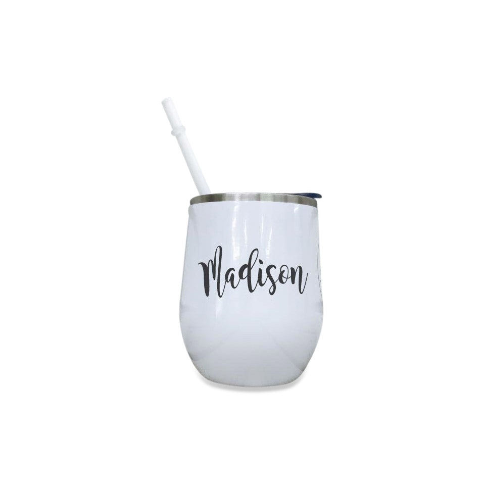 Personalized Colorful 12 oz Wine Tumbler with Name