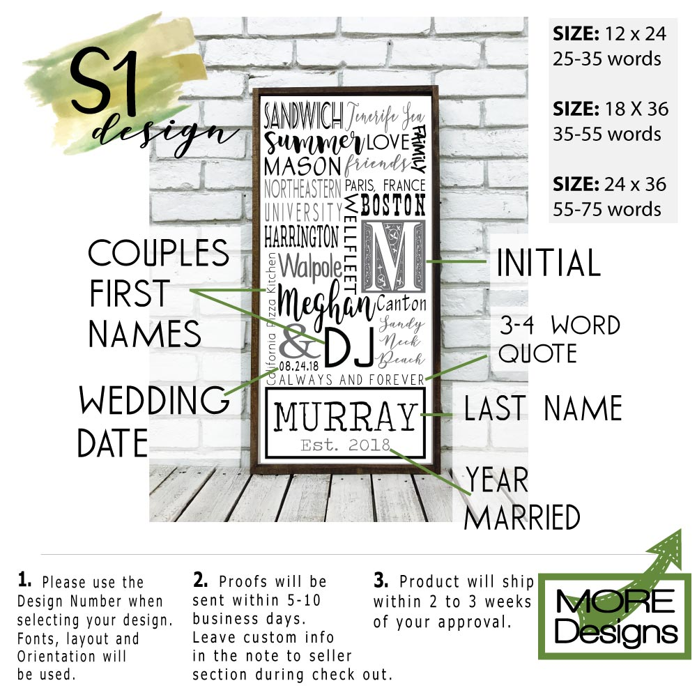 Personalized Family Name or Anniversary Gift Sign on Wood