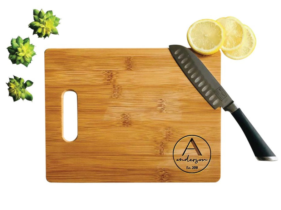 Personalized Bamboo Cutting Board, Engraved Wood Board-Medium