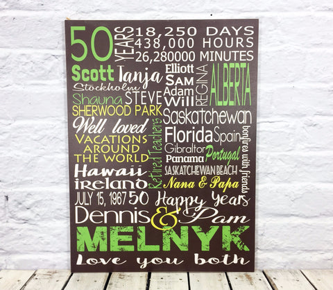 50th Anniversary Gift Wood sign