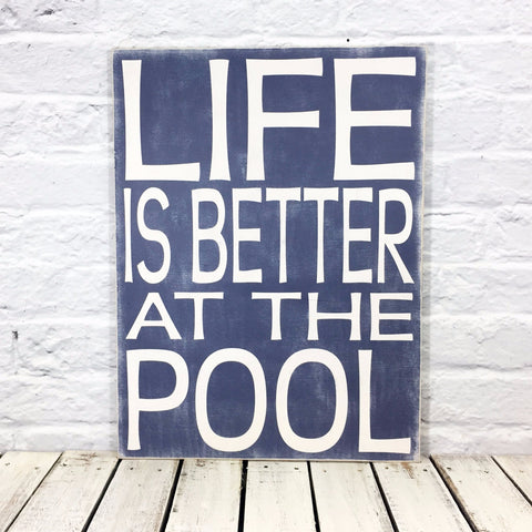 "Life is Better at the Pool Rectangle 15.5"" x 19.5"" Wood Sign - Navy"