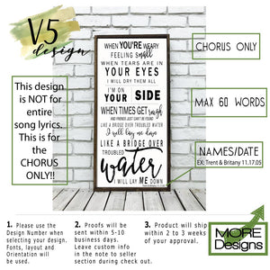 Wedding Song Lyrics Sign | Style V1