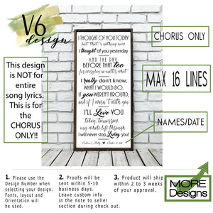 Wedding Song Lyrics Sign | Style V4