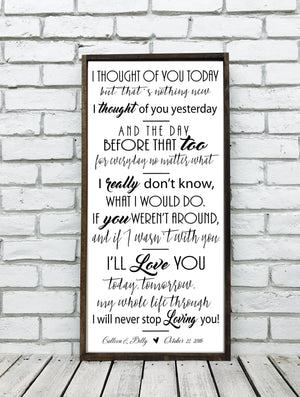 Wedding Song Lyrics Sign | Style V6
