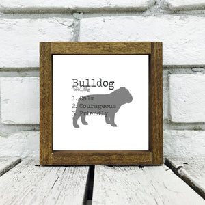 Bulldog Dog Wooden Sign
