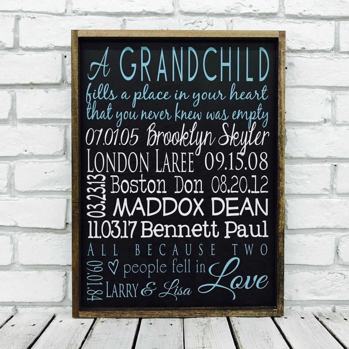 Grandchildren Names and Birth Date Wooden Sign