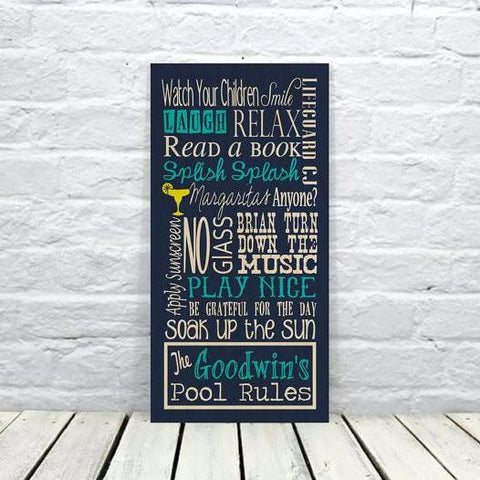 Personalized Pool Sign, Swimming Pool Rules Sign for Outdoor Living Decor