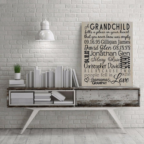 Grandchildren Names and Birth Date Sign Charcoal-Wood