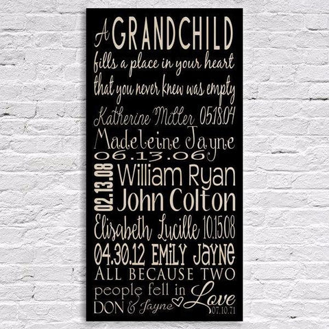 Grandchildren Names and Birth Date Sign Black-Wood