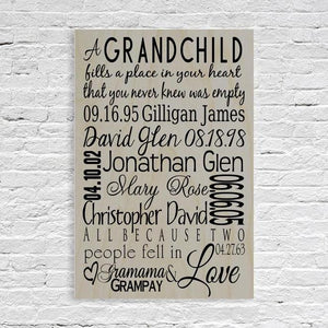 Grandchildren Names and Birth Date Sign Light Grey-Wood