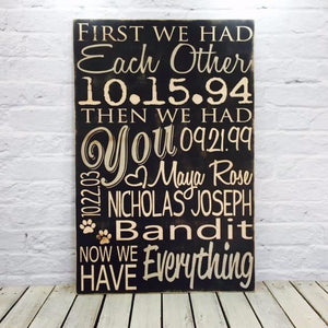 """First We Had Each Other Then We Had You"" Personalized Wooden Family Name Sign"
