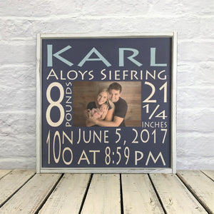 Personalized Baby Stat Sign with Photo - Wood