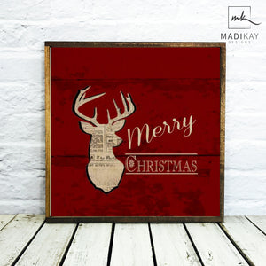 """Merry Christmas"" Wooden Deer Sign"