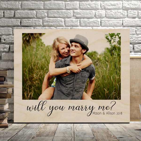 Will You Marry Me Wedding Photo Gift - Wood