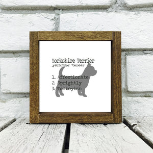 Yorkshire Terrier Dog Wooden Sign