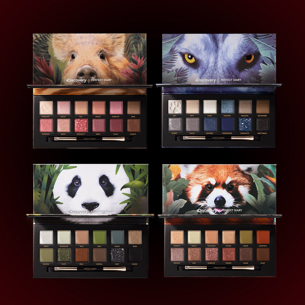 Perfect Diary Ultimate Royal Four Eyeshadow Palettes Gift Set (Set without box)01 Piggy+04 Wolf+05 Red Panda+06 Giant Panda