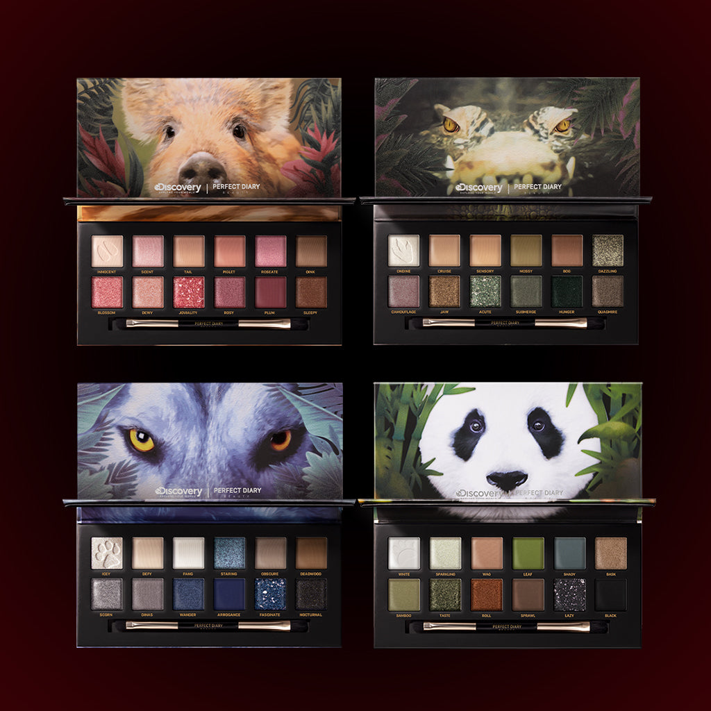 Perfect Diary Ultimate Royal Four Eyeshadow Palettes Gift Set (Set without box)01 Piggy+03 Crocodile+04 Wolf+06 Giant Panda