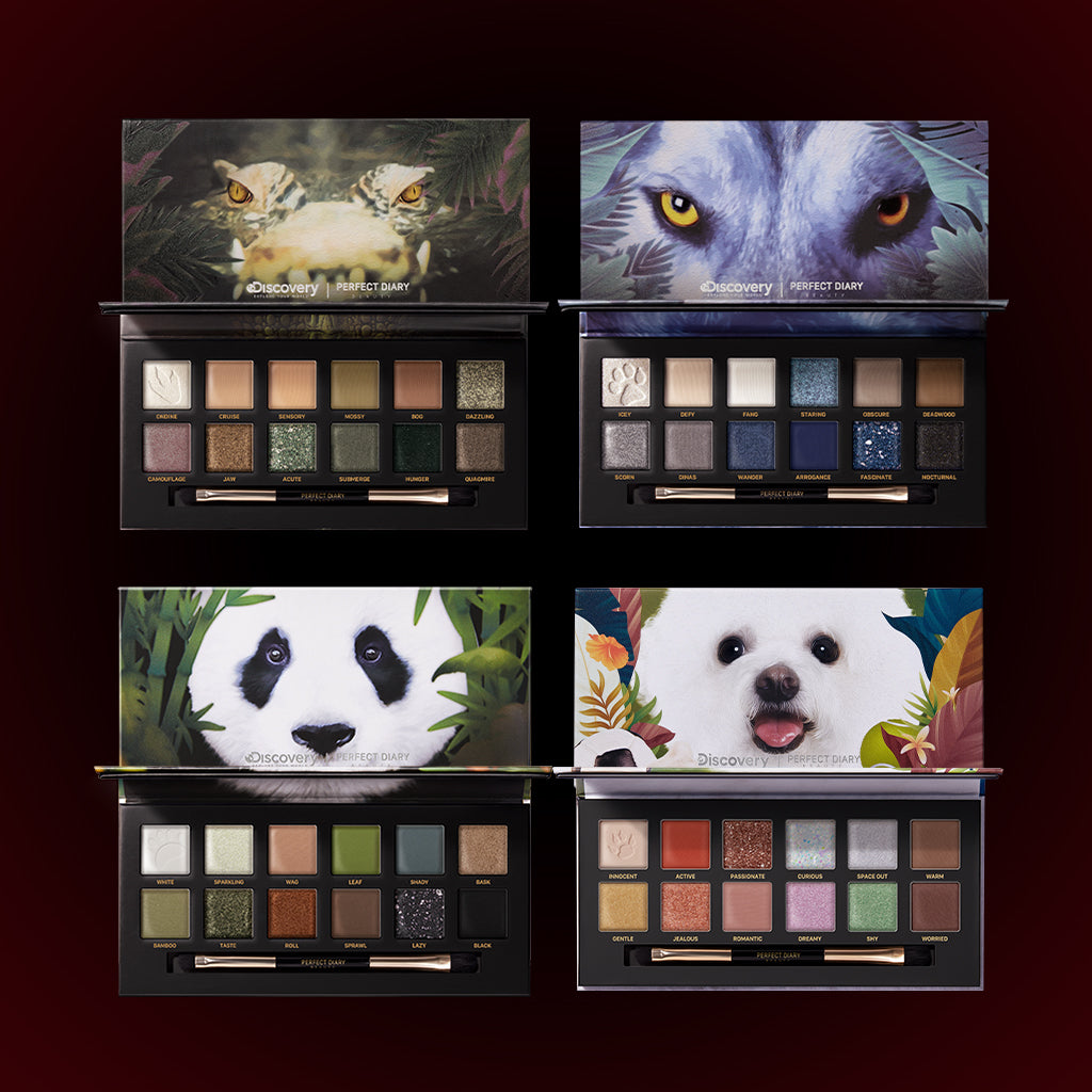 Perfect Diary Ultimate Royal Four Eyeshadow Palettes Gift Set (Set without box)03 Crocodile+04 Wolf+06 Giant Panda+08 Puppy