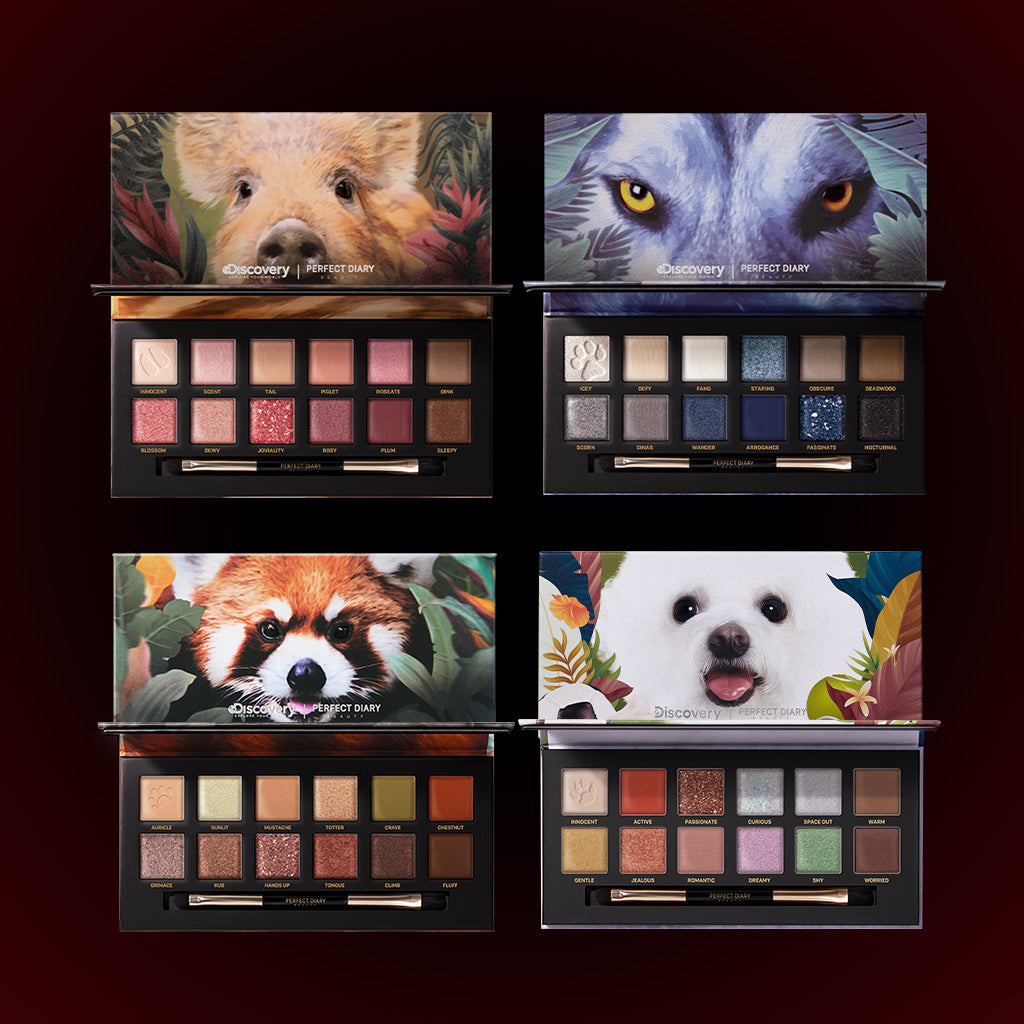 Perfect Diary Ultimate Royal Four Eyeshadow Palettes Gift Set (Set without box)01 Piggy+04 Wolf+05 Red Panda+08 Puppy