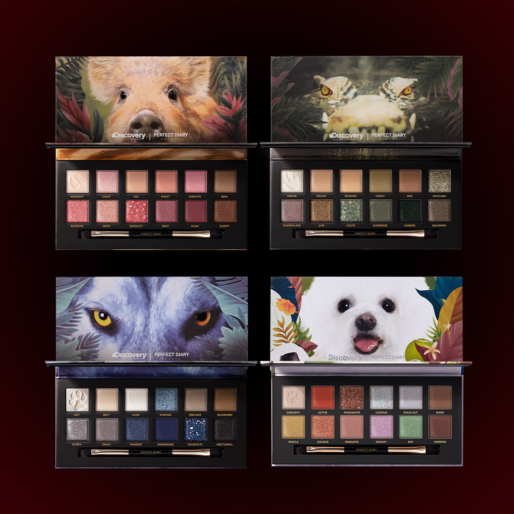 Perfect Diary Ultimate Royal Four Eyeshadow Palettes Gift Set (Set without box)01 Piggy+03 Crocodile+04 Wolf+08 Puppy