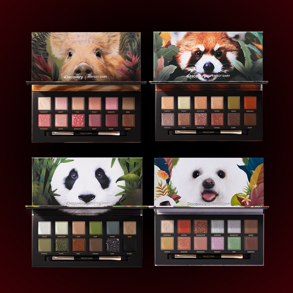 Perfect Diary Ultimate Royal Four Eyeshadow Palettes Gift Set (Set without box)01 Piggy+05 Red Panda+06 Giant Panda+08 Puppy